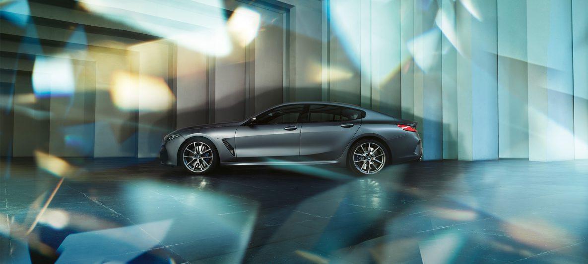 Coupé-Silhouette BMW M850i xDrive Gran Coupé G16 2019 BMW Individual Frozen Bluestone metallic Seitenansicht