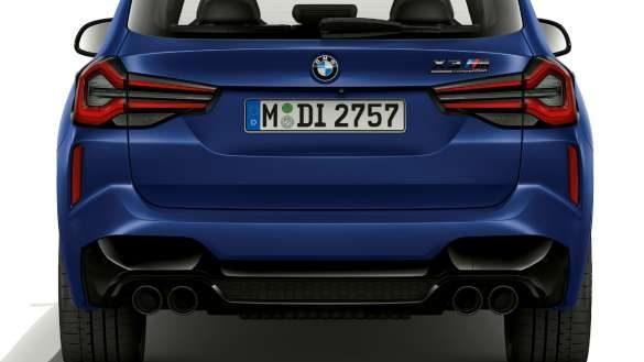 BMW X3 M Competition F97 LCI Facelift 2021 Frozen Marina Bay Blau metallic Heckdesign Heckansicht